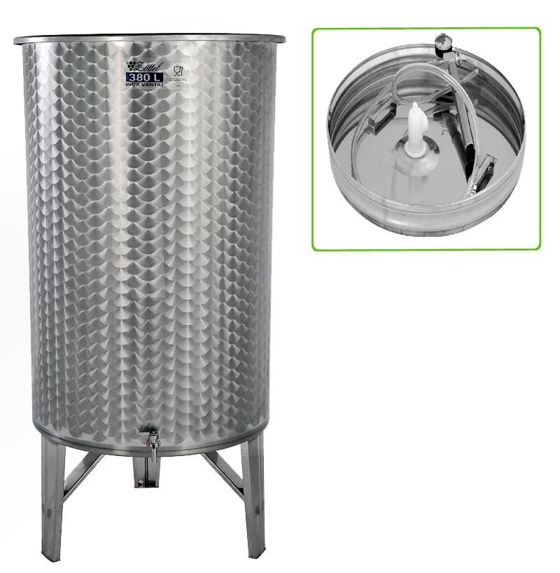 Zottel Úszófedeles INOX bortartály 380 l, 1 csapos, pumpás szettel