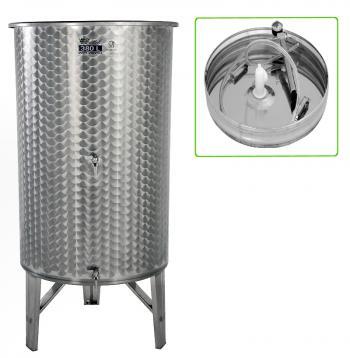 Úszófedeles INOX bortartály 380 l, 2 csapos, pumpás szettel Kép