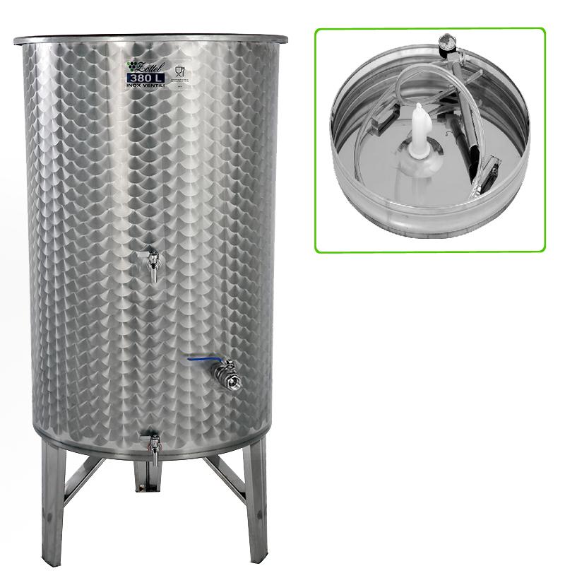 Zottel Úszófedeles INOX bortartály 380 l, 3 csapos, pumpás szettel