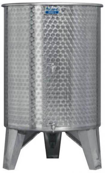 Úszófedeles INOX bortartály 500 l, 2 csapos Kép