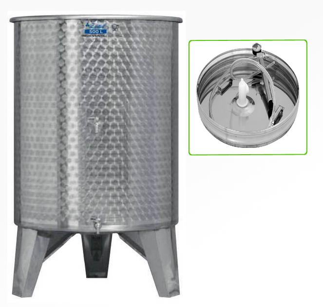 Zottel Úszófedeles INOX bortartály 500 l, 2 csapos, pumpás szettel