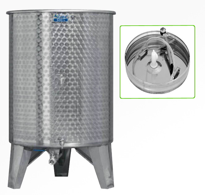 Zottel Úszófedeles INOX bortartály 500 l, 3 csapos, pumpás szettel