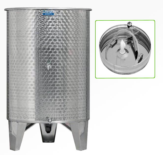 Zottel Úszófedeles INOX bortartály 600 l, 2 csapos, pumpás szettel
