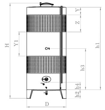Zárt bortartály, 3850 l dupla hűtőpalásttal Kép